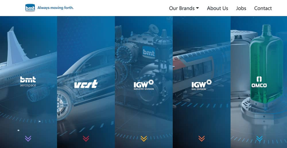 The homepage of the brand new BMT Group site